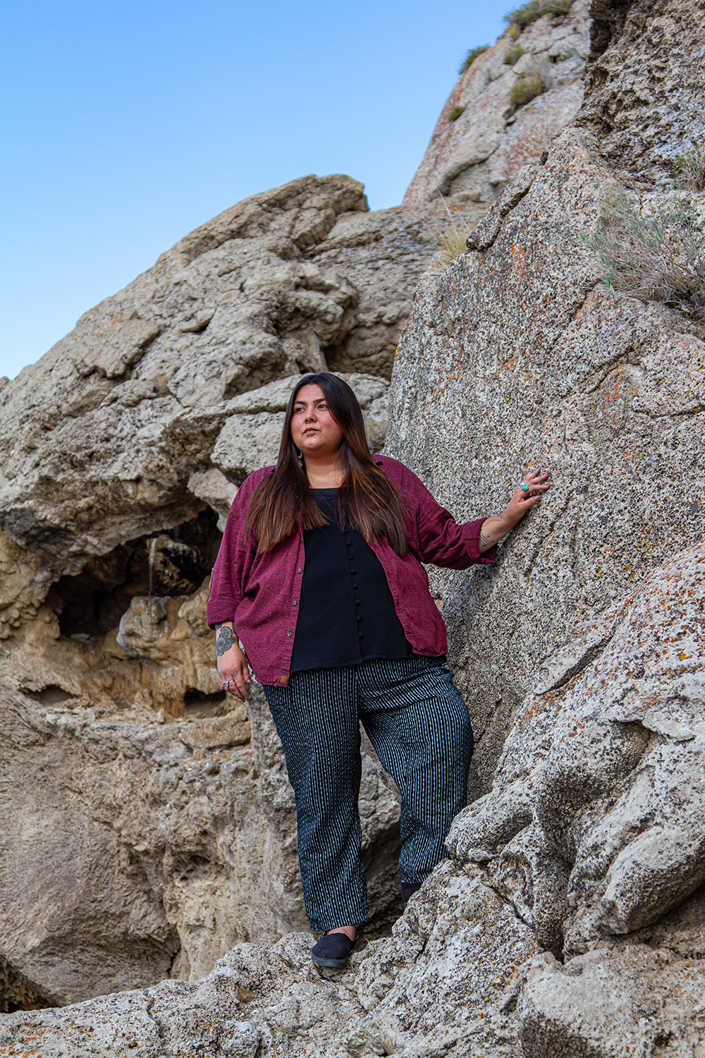 Jolie Varela, 34, is a citizen of the Tule River Yokut and Paiute Nations. She is a hiker, water protector, land defender, and change maker based out of PayahuunadŸ, the place of flowing water, also known as Owens Valley. (Photo by Jarrette Werk)